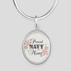 Navy Mom [fl camo] Silver Oval Necklace